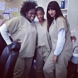They're baaack! Brooks, Samira Wiley, and Jackie Cruz are all smiles. Source: Instagram user oitnb