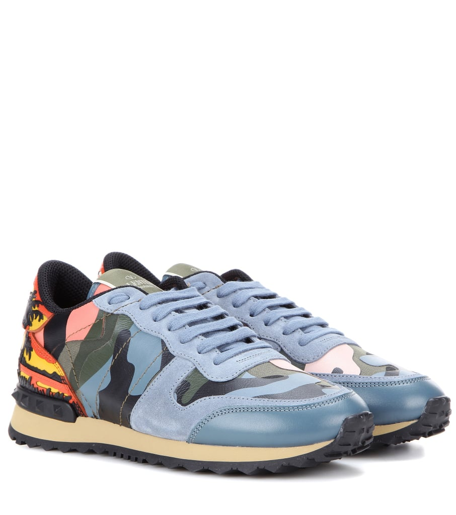 ce2755bcc9f48 Valentino Rockrunner Fabric, Suede And Printed Leather Trainers ...