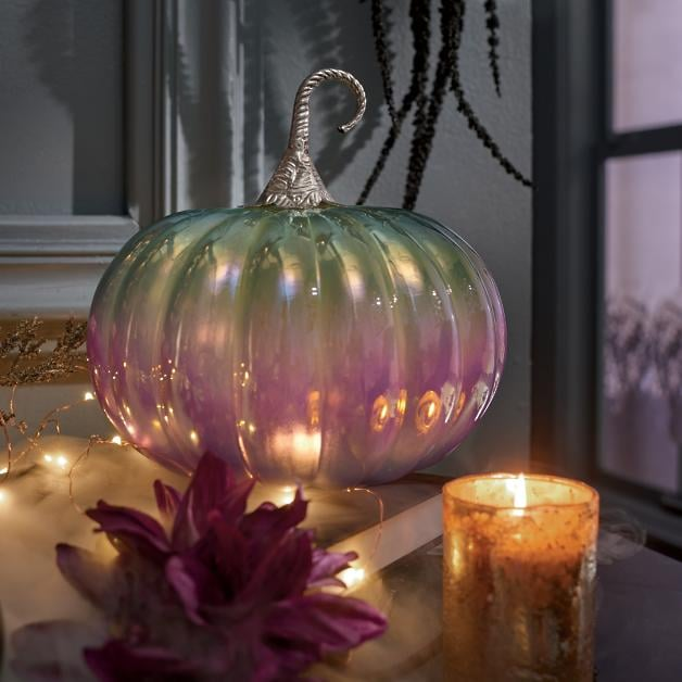 Iridescent Pumpkin Halloween Decorations in Purple and White