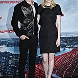 Emma Stone and Andrew Garfield posed together at the Berlin photocall for The Amazing Spider-Man.