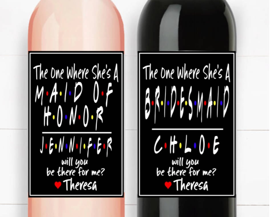 Friends Wine Labels For Bridesmaids