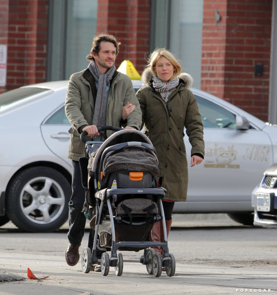"Claire Danes and Hugh Dancy went for a walk around Toronto while pushing their son, Cyrus, on Saturday. The trio stopped by Zoe's Bakery Cafe for lunch and later met up with friends at an art gallery. Claire and her family are in Canada while Hugh films his latest project, the NBC thriller Hannibal, which is scheduled to premiere on April 4. He'll be taking the small-screen spotlight following Claire's award-season success for Homeland. She took home the best actress Golden Globe and SAG Award for her role as Carrie Mathison and hit the red carpet just weeks after giving birth to Cyrus. Her son, who is now almost 3 months old, was the topic of conversation in the press room, where she called him ""scrumptious."""