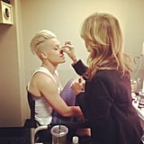 Pink got ready for a performance at the Staples Center. Source: Twitter user Pink
