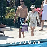 Joshua Jackson and Diane Kruger walked by their pool in Venice.