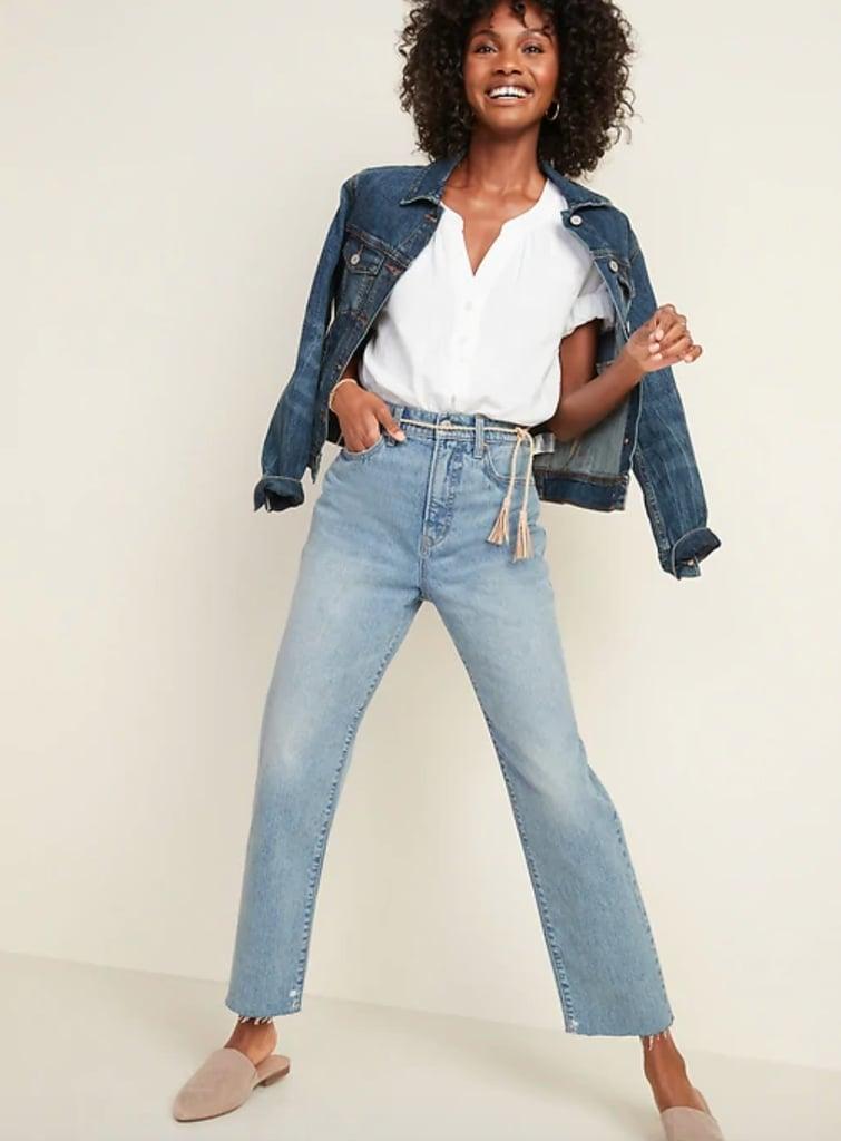 Old Navy Extra-High Waisted Sky-Hi Straight Raw-Edge Jeans