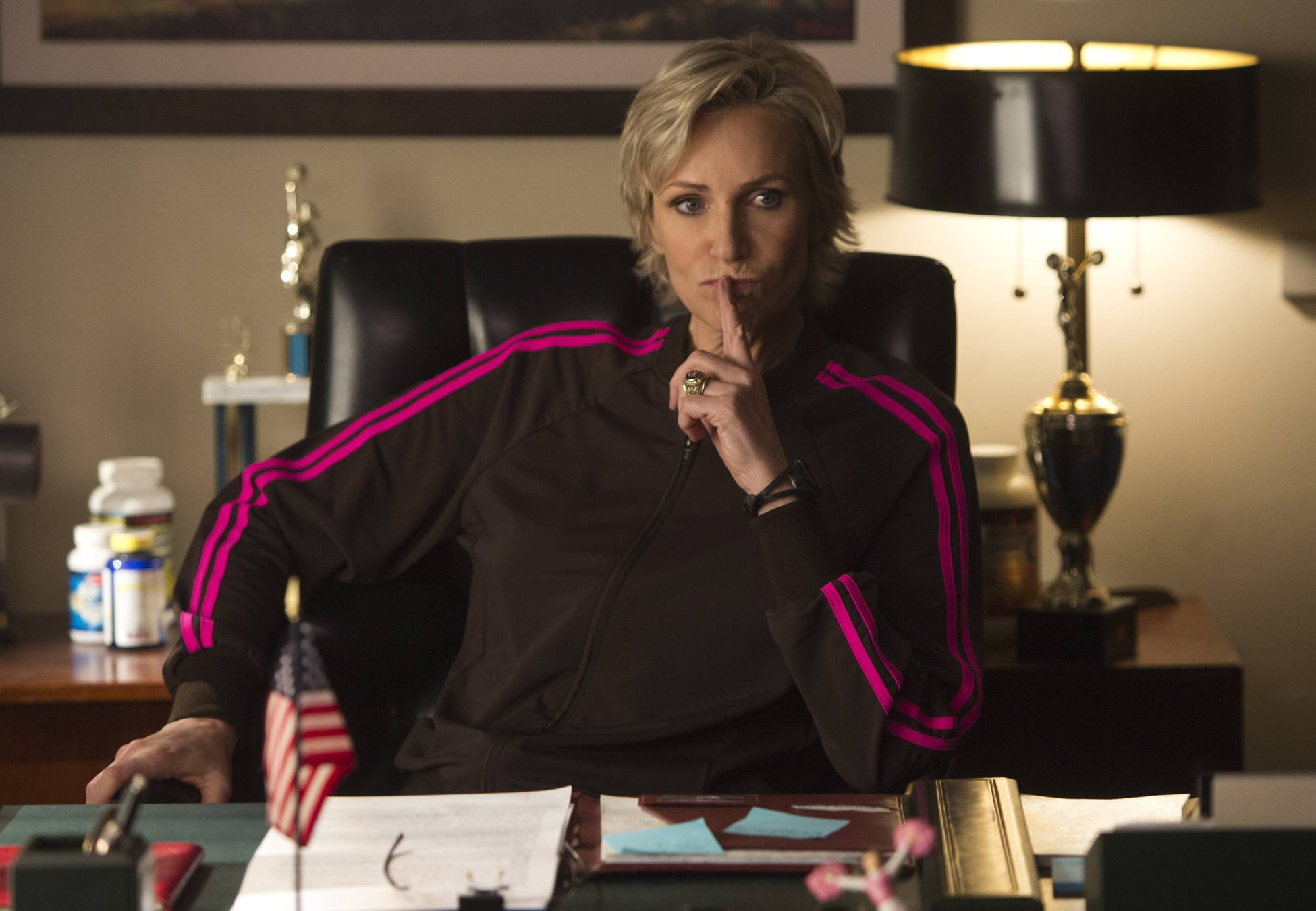 Sue (Jane Lynch) is likely up to no good.