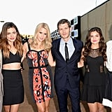 TV stars — including Aussie girls Phoebe Tonkin and Claire Holt, second and third from left — dressed up for their network parties at the 2013 Summer TCA on July 30.