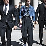 Taylor Hill Was Seen During MFW Wearing a Cropped Denim Jacket and Belted Trousers