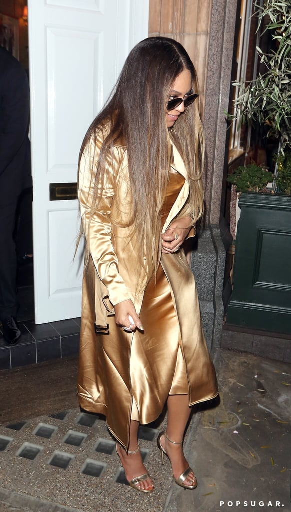 Beyoncé in a Gold Outfit While Out With JAY-Z in London
