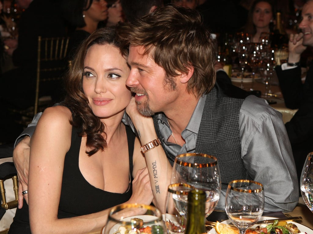 Angelina Jolie and Brad Pitt shared a sweet couple's moment during the 2008 show.