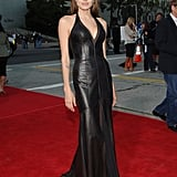 At the LA Mr. & Mrs. Smith premiere, Angelina Jolie's leather gown was as tough as her character.
