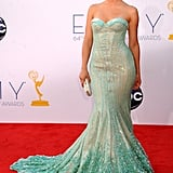 Julianne Hough chose a strapless gown that sculpted her curves with its bustier-style top.