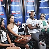 Pictured: Marie Avgeropoulos, Lindsey Morgan, Ricky Whittle, Eliza Taylor, and Bob Morley.