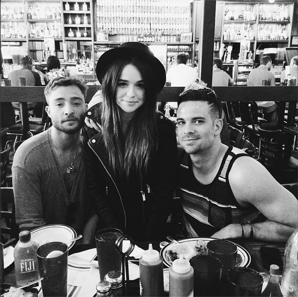 Lunch with Gossip Girl's Ed Westwick and Glee's Mark Salling isn't a bad Lollapalooza break at all. Source: Instagram user acaciabrinley