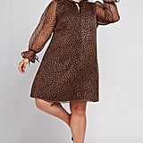 CeCe Leopard Ruffle-Sleeve Shift Dress