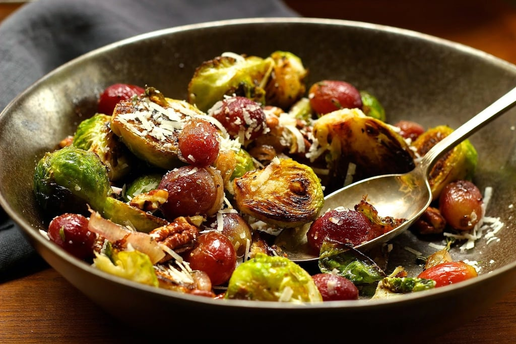 Charred Brussels Sprouts With Grapes and Pecans