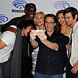 Pictured: Bob Morley, Isaiah Washington, Eliza Taylor, Lindsey Morgan, and Devon Bostick take a selfie with producer Jason Rothenberg.