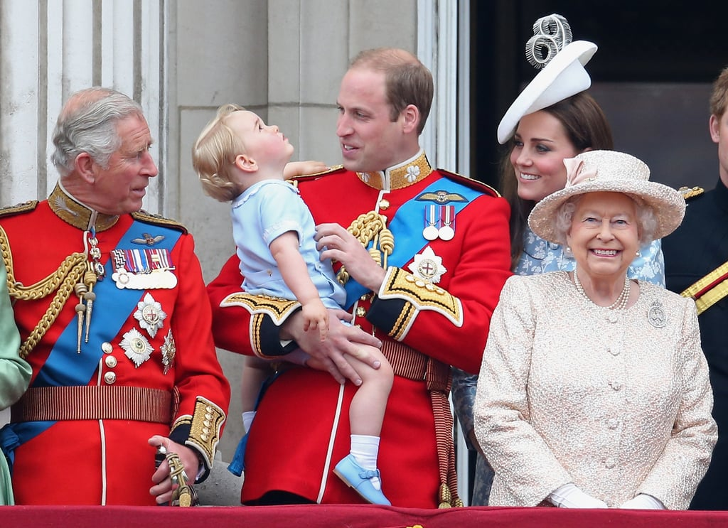 Prince George got adorable with the Duchess of Cambridge and Prince William at the annual Trooping the Colour ceremony on Saturday. The trio joined the rest of the royal family, including Queen Elizabeth II, on the Buckingham Palace balcony to watch the flypast. George got animated and waved to the crowd as William held him and Kate beamed with pride.  The little guy looked adorable for his first appearance on the balcony — he wore the same blue outfit William donned when he crossed the same milestone off his list as a kid. Meanwhile, the balcony moment also marked the first time Queen Elizabeth II has appeared in public with the three immediate heirs: Prince Charles, Prince William, and Prince George. Earlier in the day, George watched the festivities from a window, wagging his tongue with excitement. Meanwhile, the Duchess of Cambridge rode in a horse-drawn carriage with Camilla, Duchess of Cornwall. The event is Kate's first official appearance since she gave birth to Princess Charlotte in early May. She looked gorgeous in a Catherine Walker dress and hat from Lock & Co.  The Duchess of Cambridge has stunned year after year during the annual ceremony, which is held to celebrate Queen Elizabeth II's birthday. Although the queen's actual birth date is April 21, Trooping the Colour takes place in the Summer because better weather is more likely. Keep reading to see all the best pictures from this year's festivities, then see the cutest pictures of Princess Charlotte and the cutest pictures of Prince George! — Additional reporting by Nick Maslow
