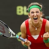 Victoria Azarenka of Belarus made a face after beating Germany's Angelique Kerber in the quarterfinals of women's singles tennis.