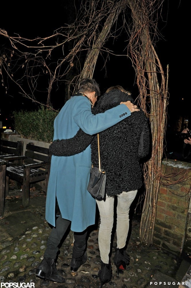 Kate Moss and Jaime Hince cuddled up as they left the restaurant.