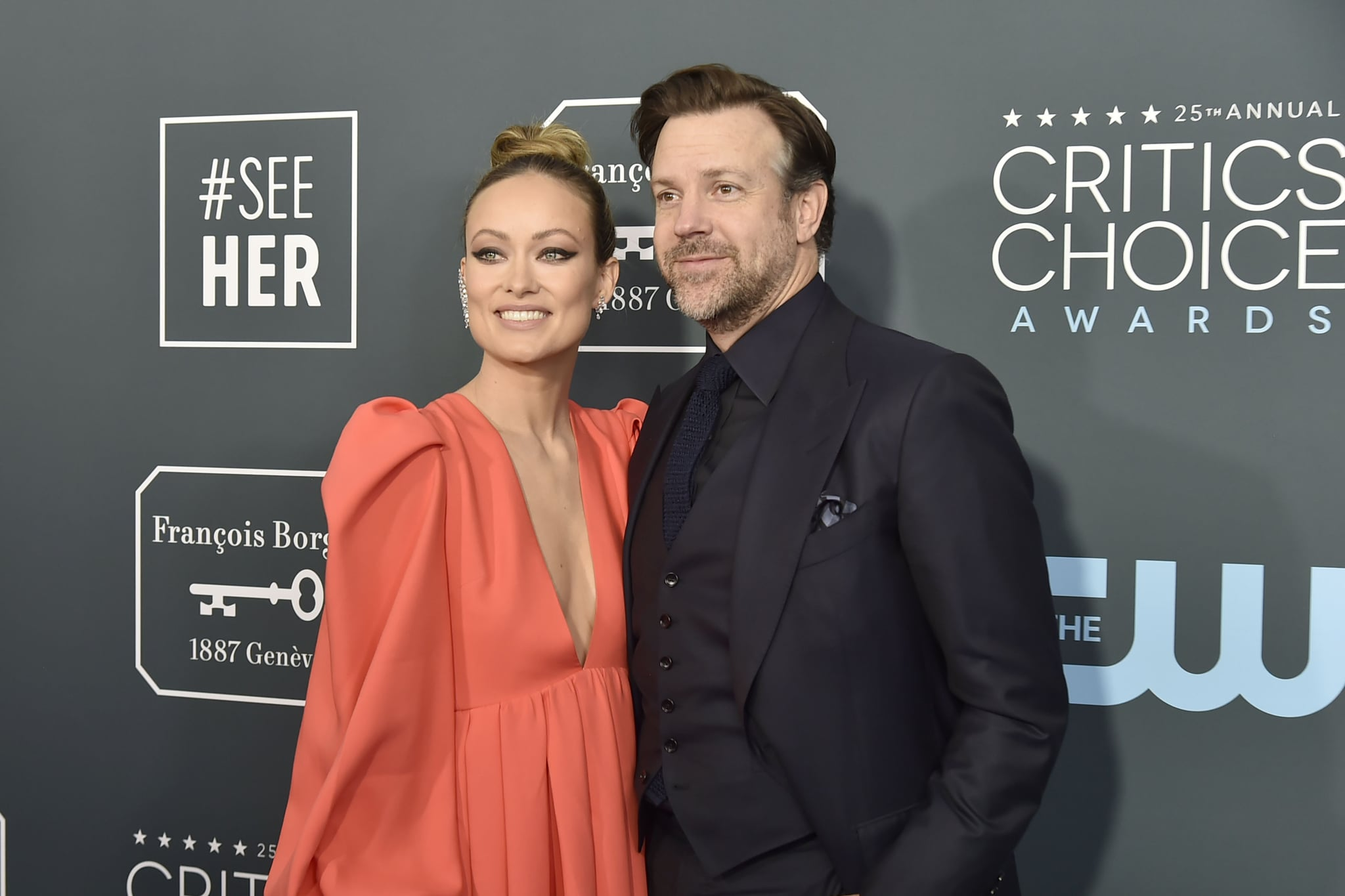 SANTA MONICA, CA - JANUARY 12: Olivia Wilde and Jason Sudeikis during the arrivals for the 25th Annual Critics' Choice Awards at Barker Hangar on January 12, 2020 in Santa Monica, CA. (Photo by David Crotty/Patrick McMullan via Getty Images)
