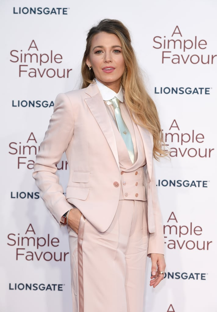 "Neon green Versace or all white to the VMAs — Blake Lively's pantsuit style knows no boundaries. The A Simple Favor actress has been rocking fabulous pantsuits for almost every single appearance she's made this month, and we are so here for it. Blake's fully committed to her sophisticated look, but it's not just about the stylish ensembles — she's ""just lookin' to encourage women to do what men do without being teased for it."" Earlier this week, a blogger posted photos of Blake at the UK premiere of her new movie, writing, ""It's suit number 1,356 for Blake Lively's promotion of A Simple Favor. This time custom pink Ralph Lauren Collection."" While the initial thought behind the caption was ""an attempt at humor,"" it did not sit well with with Blake. ""Would you note a man wearing lots of suits during a promo tour? 😱😊 So why can't a woman? Just sayinnnn. No double standards ladies 💪💕,"" she replied to the blogger.  ""You know I love you, and I personally have really enjoyed this tour. If you look at my website, I have said that I have admired your total commitment to rocking suits during this promo tour. That number was just an attempt at humor. I'm sorry it didn't translate. Looking forward to the Paris premiere. 😘,"" the blogger wrote in response. It was all love from Blake after that, but she brings up a valid point: why is there a need to calculate her fashion choices when some men wear suits every single day? Blake's recent style choices are a nod to her character in A Simple Favor, who wore similar suits. Read on to see the Blake's full comments and more gorgeous photos of her rocking the heck out of pantsuits.      Related:                                                                                                           64 Times Blake Lively Gave Us Major Outfit Envy on Gossip Girl"