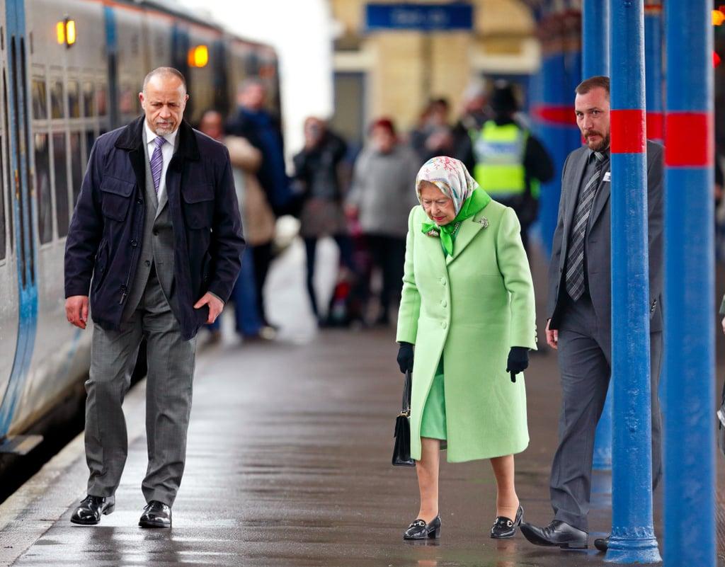 Queen Elizabeth II Catching Train to King's Cross Feb. 2017