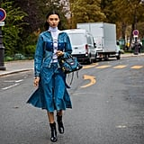 Wear a Jumper With a Lace-Up Jacket and a Matching Skirt