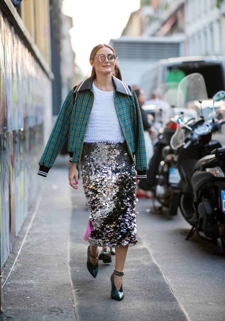 Wear a Sequinned Skirt With a Cool Jacket