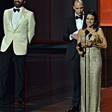 Jon Hamm laughed in the background as Julia Louis-Dreyfus gave her acceptance speech.