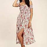 Lulus View From the Meadow Cute Cream Floral Print Off the Shoulder Dress