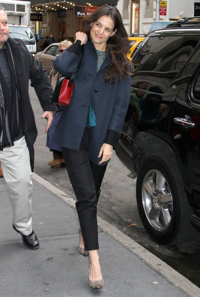 Katie Holmes was in a cheerful mood when she was spotted heading into the matinee performance for Dead Accounts in NYC today. Katie will be busy throughout the holiday season with her new play, which will run through February. Katie has been supporting the Broadway community in more ways than one — she attended a Broadway Dreams Foundation gala earlier this week. Although she didn't have daughter Suri Cruise by her side, Katie did spend the previous afternoon with her daughter after school. Katie and Suri settled in NYC after Katie split from Tom Cruise earlier this year. Katie and Tom's split was so headline-making that it is currently in the running to become our most shocking breakup of 2012 — don't forget to cast your vote!