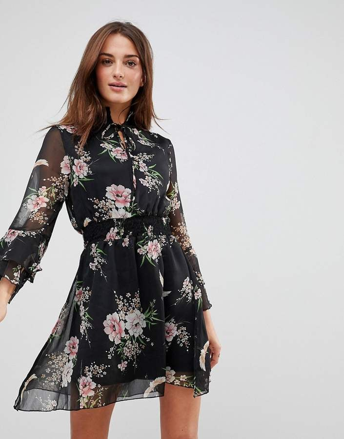 Asos Influence High Neck Floral Dress With Ruffle Sleeves And Tie