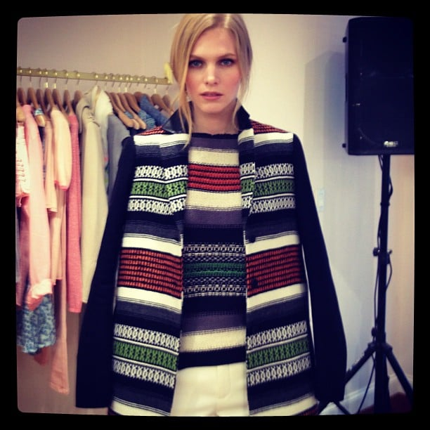 Blanket stripes caught our attention at Maje's NY store opening.