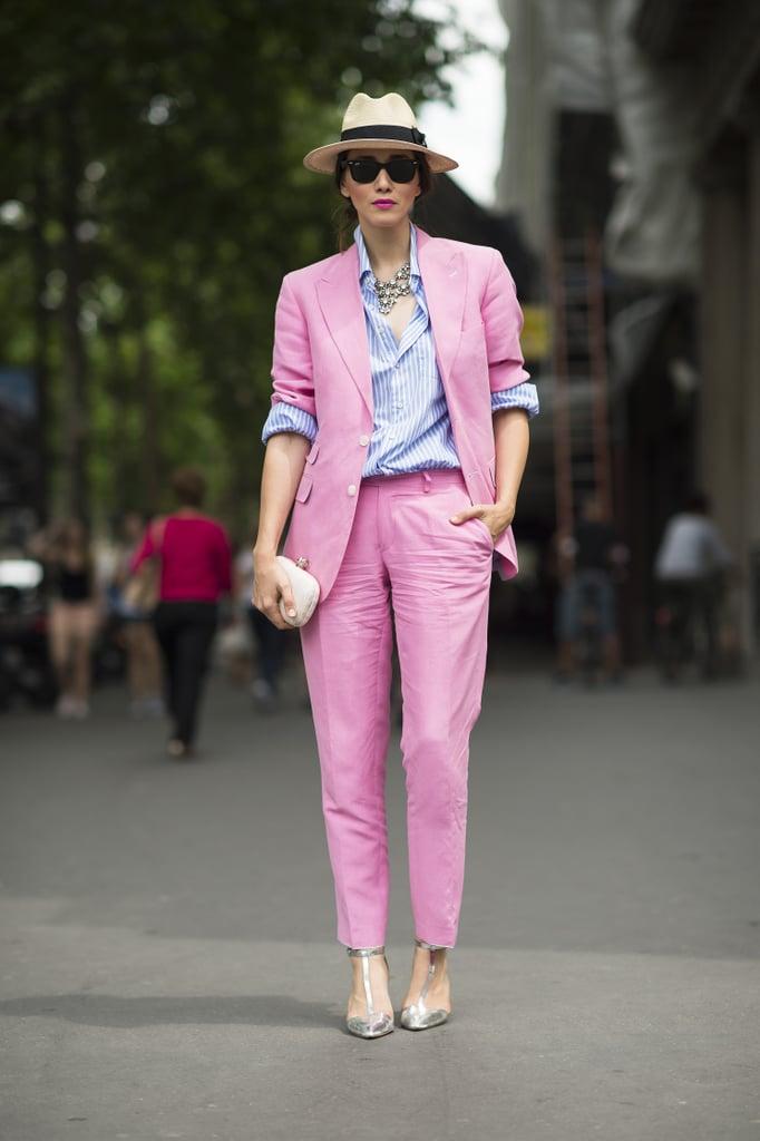 Done in bubblegum pink, a suiting look felt totally feminine. Source: Le 21ème | Adam Katz Sinding