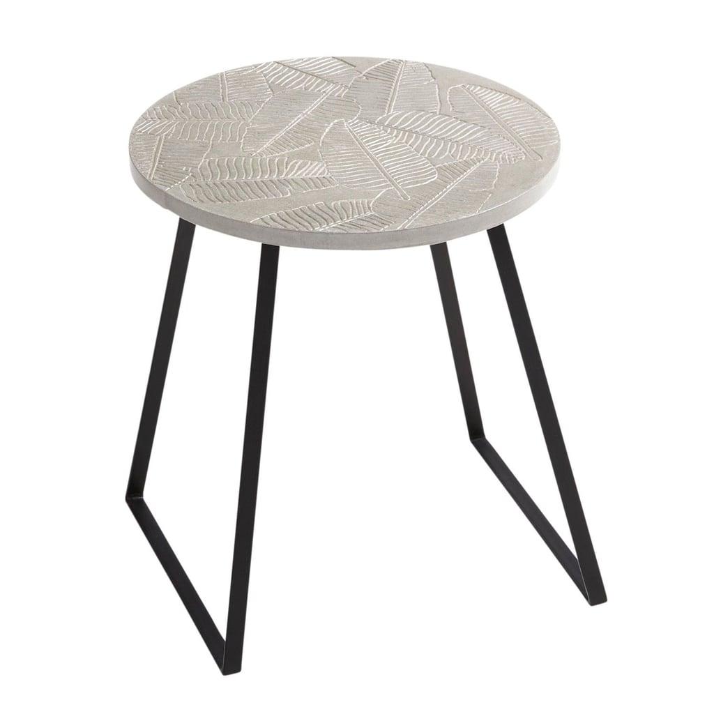 Palm Leaves Concrete Accent Table