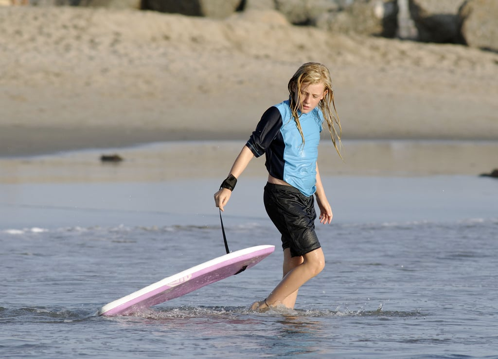 Lilac Moyer grabbed a boogie board.
