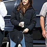 Emma Watson bundled up in a puffy coat on the set of The Bling Ring in Venice.