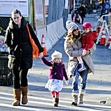 Sarah Jessica Parker walked with the twins and their nanny.