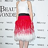 Cate Blanchett was feathery chic in a white, red, and black Prabal Gurung dress at the Beauty in Wonderland event in Milan.