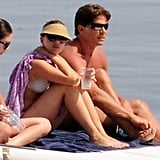 Scarlett Johansson sported a visor and shades on the yacht.