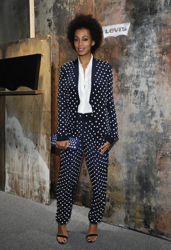 Solange doubled up on dots, working a black-and-white polka-dot suit with ankle-strap sandals while rocking out to Frank Ocean at the Levi's 501 pre-Grammy party in LA. Source: Flickr user paulandwilliams