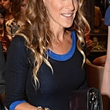 Sarah Jessica Parker accessorised with bracelets and rings.
