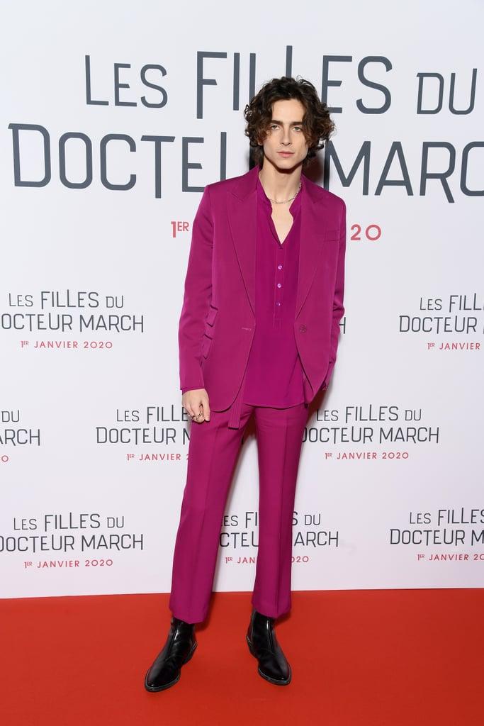Did Timothée Chalamet Borrow Zendaya's Fuchsia Suit for the Little Women Premiere?