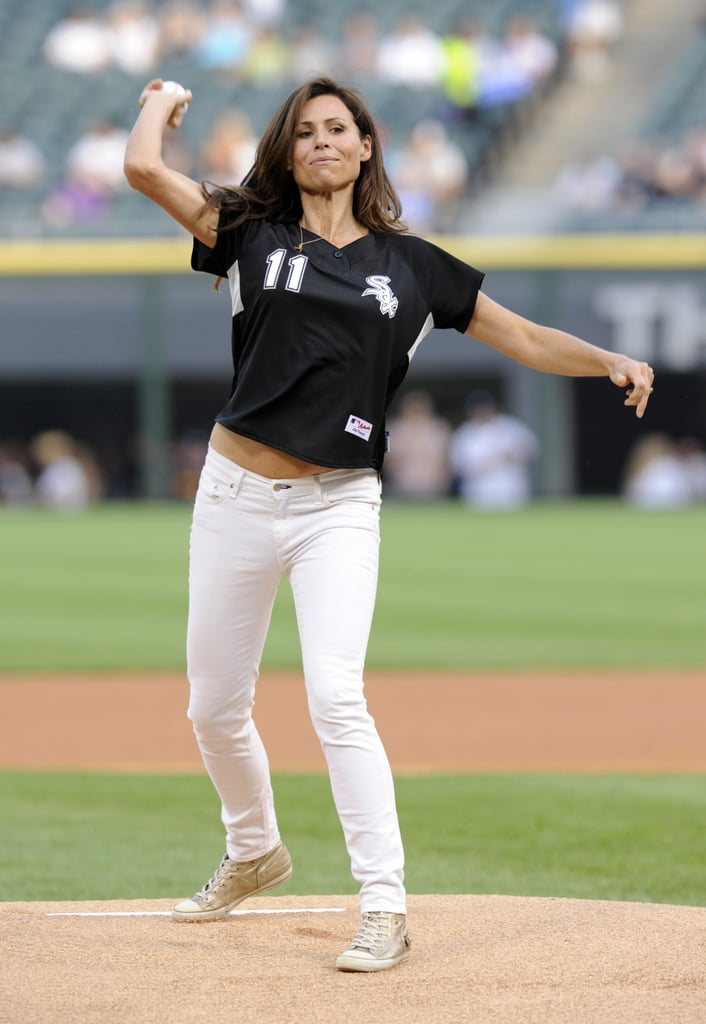 Minnie Driver pitched for the Chicago White Sox in June 2011.