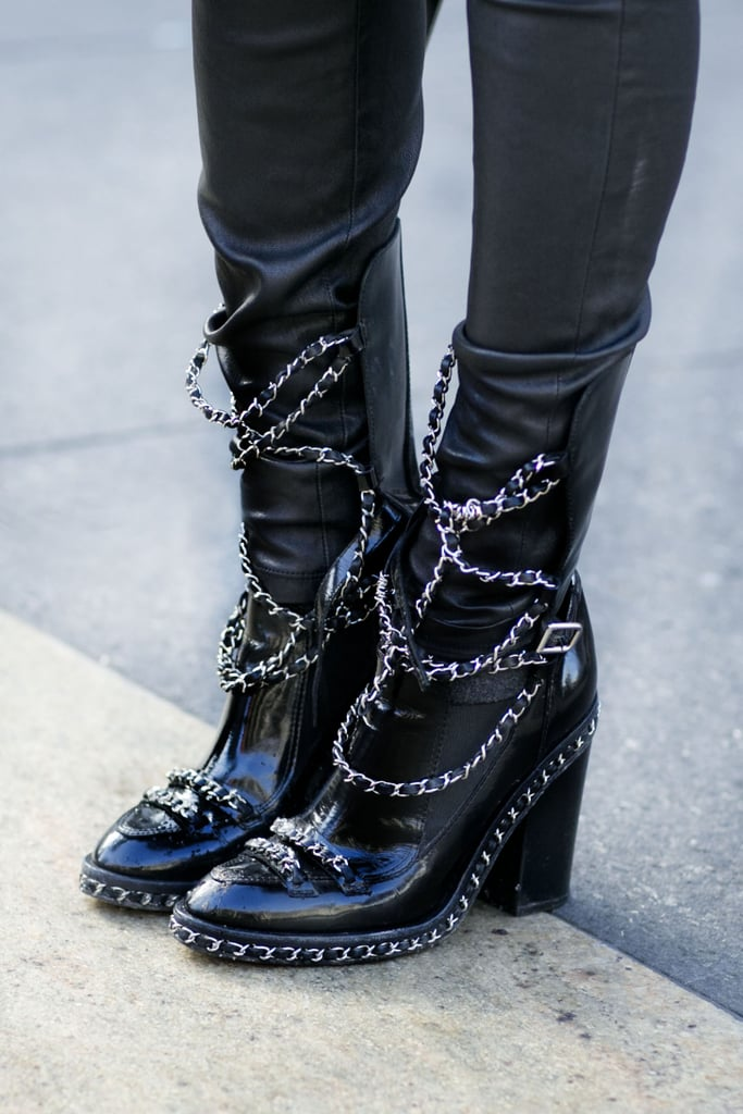 Heavy chains on these Chanel Fall 2013 boots were so rock and roll.  Source: Tim Regas
