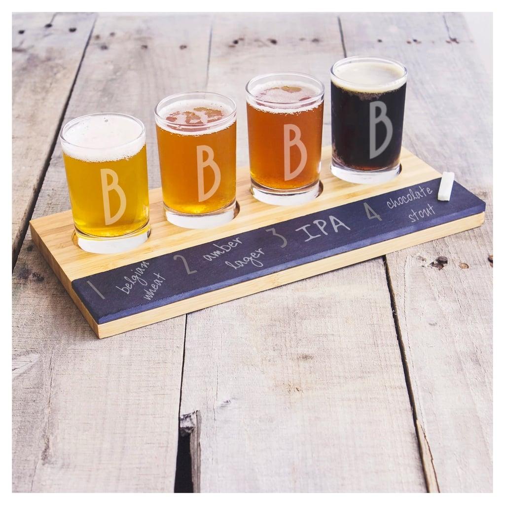 Monogrammed Bamboo & Slate Craft Beer Tasting Flight