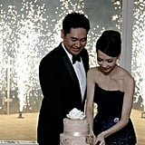 At this romantic Australian wedding the couple was surrounded by ground fireworks during the cake-cutting ceremony.