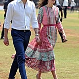 Anita Dongre in Mumbai: It wasn't just about the red carpet glamour, and Kate did relaxed daytime just as well. She wore this soft turquoise and pink boho dress with beige Mint Velvet wedges, and gold Accessorize earrings.