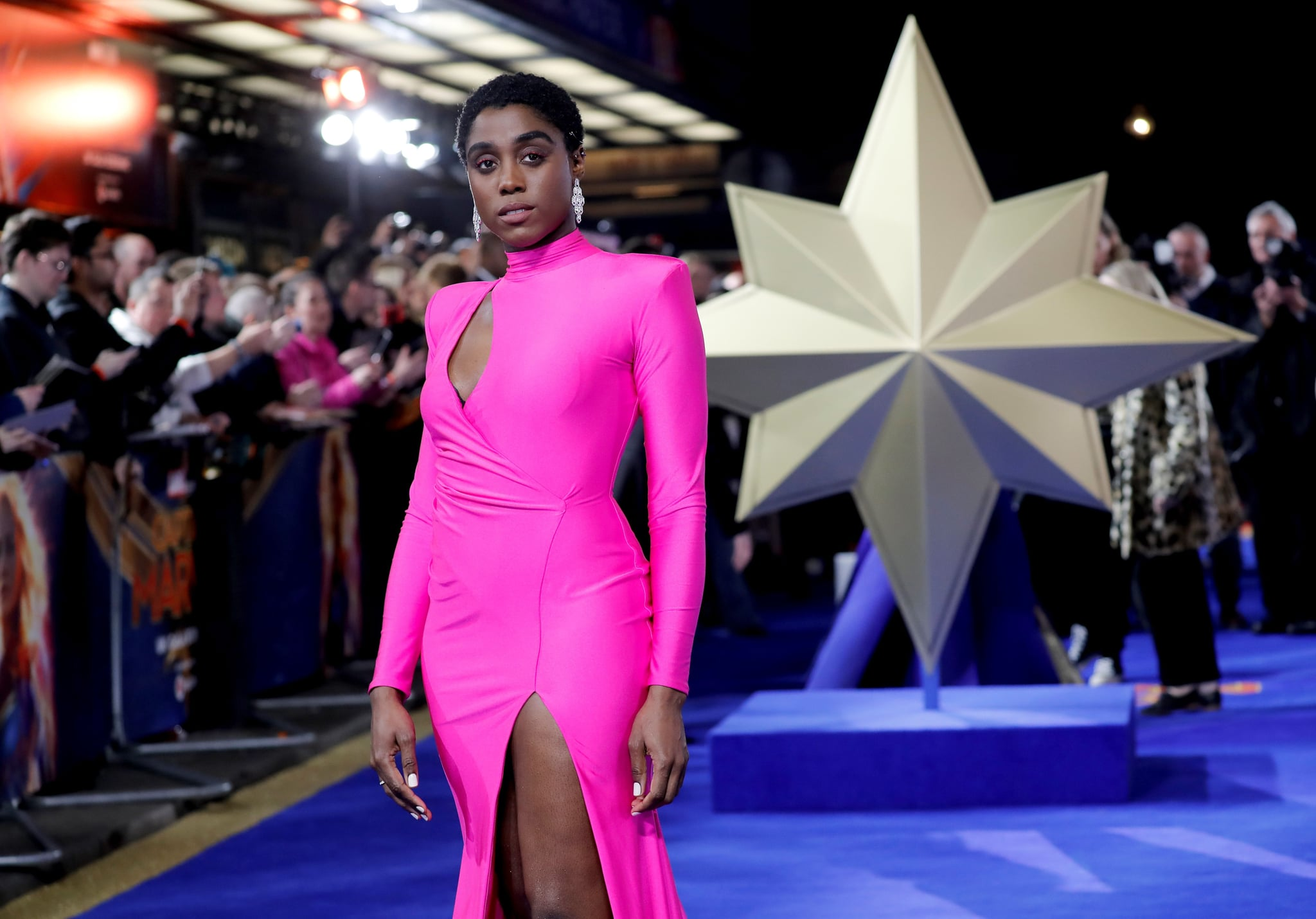 English actor Lashana Lynch poses upon arrival for the European gala premiere of the film